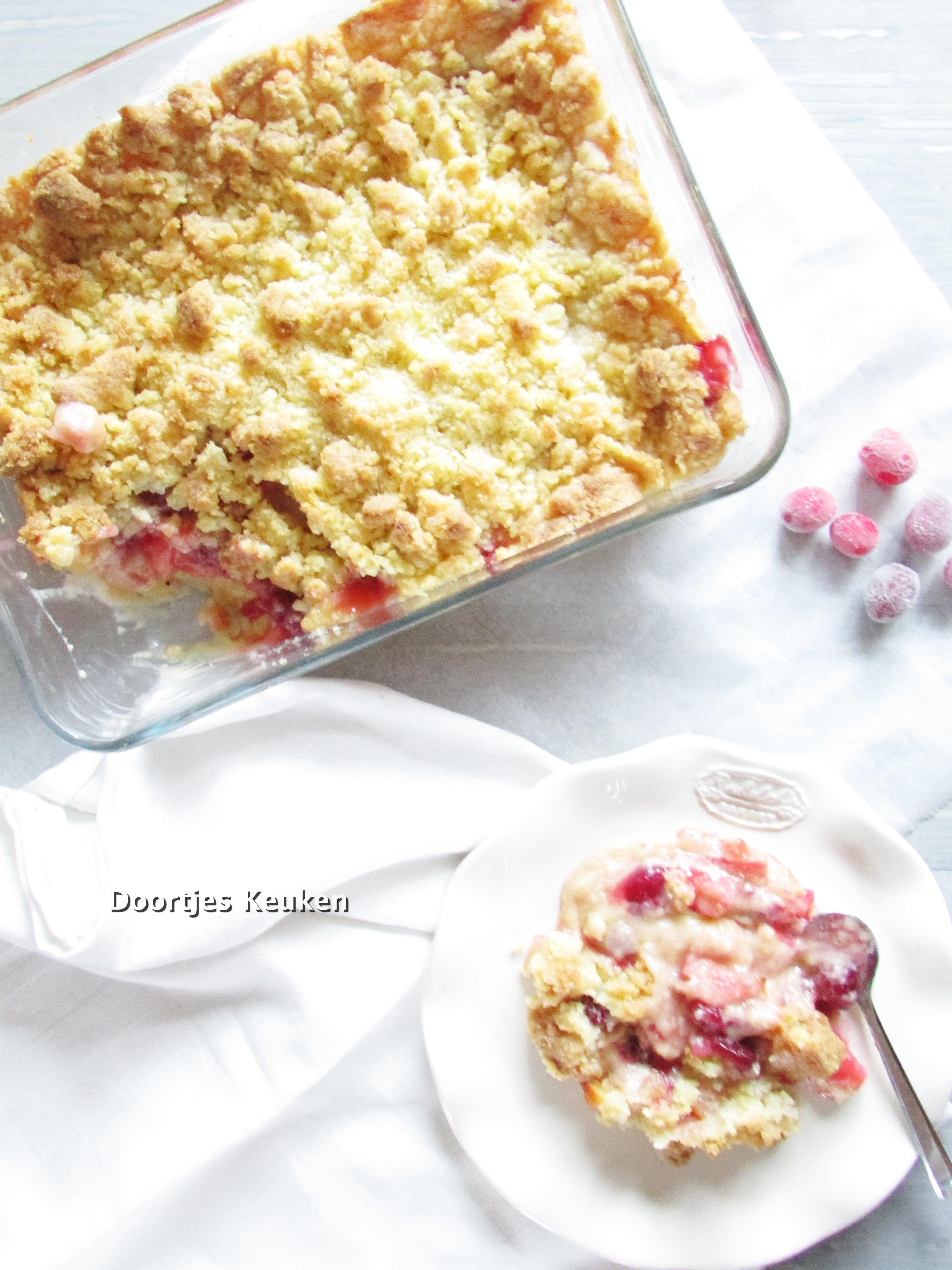 Appelcrumble met cranberry's
