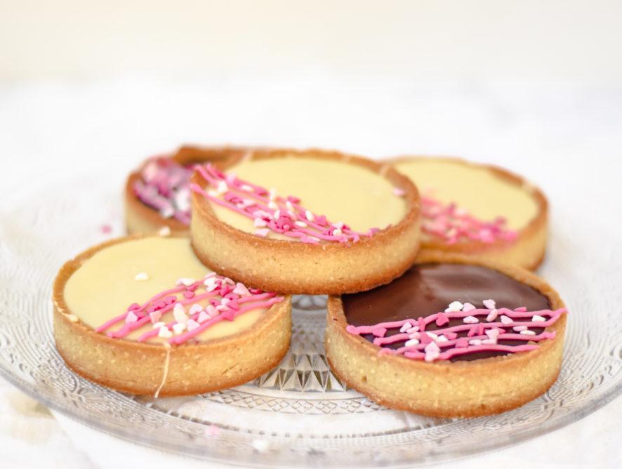 Tartelettes met frambozen en chocola